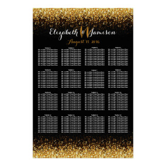 Gold Black Hollywood Glitz Glam Seating Chart
