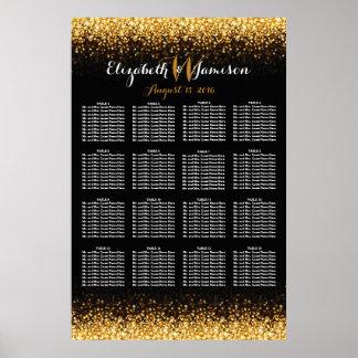 Gold Black Hollywood Glitz Glam Seating Chart Poster