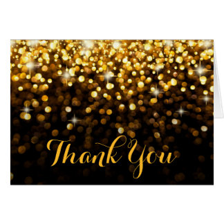 Gold Black Hollywood Glitz Glam Thank You Card