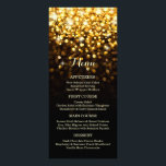 """Gold Black Hollywood Glitz Glam Wedding Menu<br><div class=""""desc"""">This dazzling wedding menu is sure to wow your guests. Features bright gold sparkling light orbs that fade to a subtle black background. Perfect for an elegant,  classy wedding. See below for Coordinating products:</div>"""