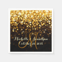 Gold Black Hollywood Glitz Glam Wedding Napkin