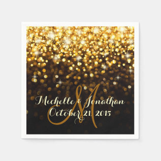 Gold Black Hollywood Glitz Glam Wedding Napkin at Zazzle