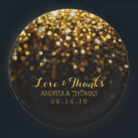 "Gold Black Hollywood Glitz Glam Wedding Plates<br><div class=""desc"">These classy wedding paper plates feature a black background with gold sparkles raining down.  Personalize these plates for a one-of-a-kind touch with your names and wedding date.  Coordinates perfectly with our Hollywood Glitz Glam Wedding Collection.</div>"