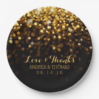 Gold Black Hollywood Glitz Glam Wedding Plates at Zazzle