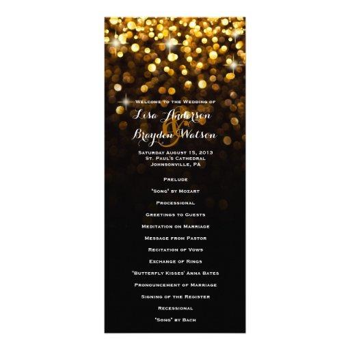 Gold Black Hollywood Glitz Glam Wedding Program Rack Card