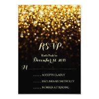 Gold Black Hollywood Glitz Glam Wedding RSVP Card (<em>$1.96</em>)