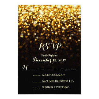 Gold Black Hollywood Glitz Glam Wedding RSVP Card