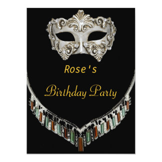 Gold Black Hot Glamour Birthday Party Masquerade Card