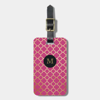 Gold, Black & hot pink quatrefoil Luggage Tag