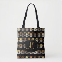 Gold & Black Ikat Chevron Design Tote Bag
