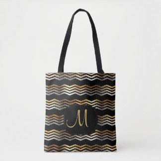 Gold & Black Ikat Chevron Design Tote Bag