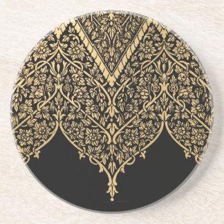 Gold Black Indian Motif Vintage Design Pattern Drink Coasters