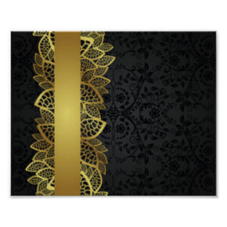 Gold Black Lace Pattern Print Design