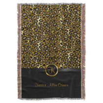 Gold & Black Leopard Animal Pattern Throw