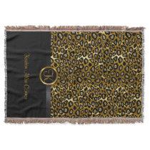 Gold & Black Leopard Animal Pattern Throw