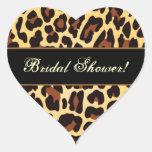 Gold Black Leopard Bridal Shower Heart Sticker