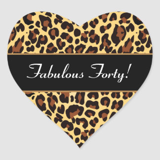 Gold Black Leopard Fabulous 40 Birthday A01 Heart Sticker