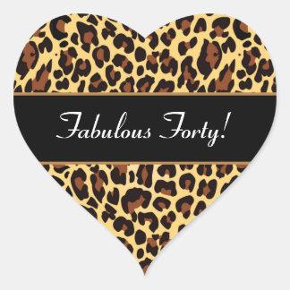 Gold Black Leopard Fabulous 40 Birthday A01 Heart Sticker