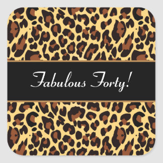 Gold Black Leopard Fabulous 40 Birthday A02 Square Sticker