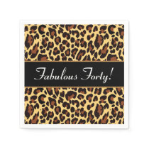 Gold Black Leopard Fabulous 40 Birthday A10 Paper Napkin
