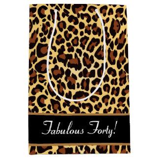 Gold Black Leopard Fabulous 40 Birthday A12 Medium Gift Bag