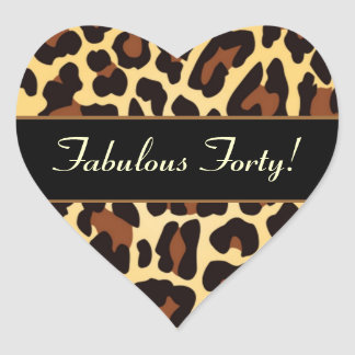 Gold Black Leopard Fabulous 40 Birthday Heart Sticker