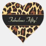 Gold Black Leopard Fabulous 50 Birthday Heart Stickers