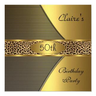 """Gold Black Leopard Invite 50th Birthday Party 5.25"""" Square Invitation Card"""
