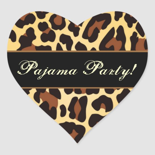 Gold Black Leopard Pajama Party Heart Sticker