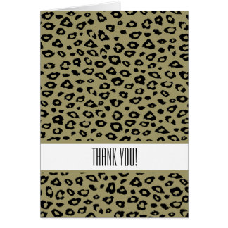 Gold Black Leopard Print Thank You Stationery Note Card