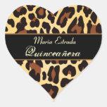 Gold Black Leopard Quinceanera Sticker