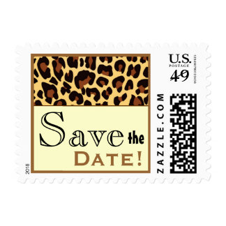 Gold Black Leopard Save the Date Postage Stamp