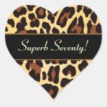 Gold Black Leopard Superb 70th Birthday Heart Sticker