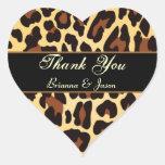 Gold Black Leopard Thank You Heart Sticker