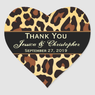 Gold Black Leopard Wedding Bride Groom Thank You Heart Sticker