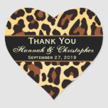 Gold Black Leopard Wedding Thank You Bride Groom Heart Sticker