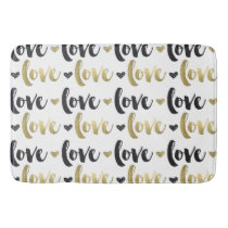 Gold Black Love Heart Bathroom Mat