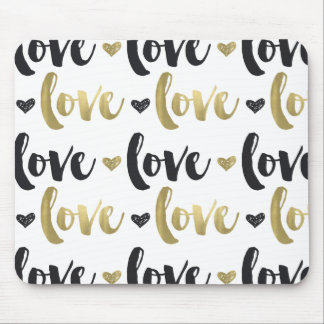 Gold Black Love Heart Mouse Pad