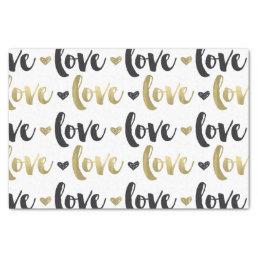 Gold Black Love Heart Tissue Paper