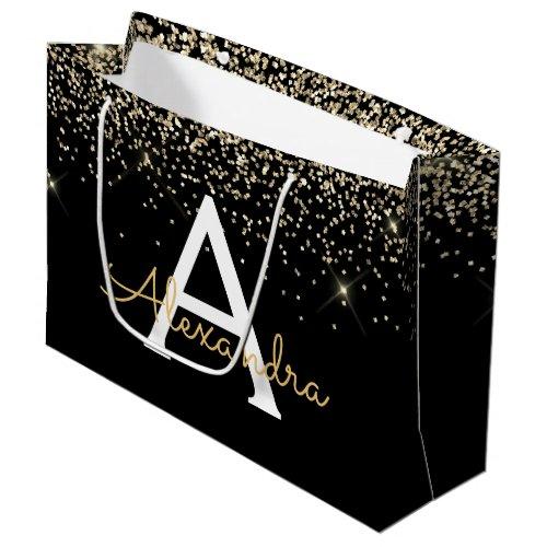 Gold Black Luxury Glitter Sparkle Monogram Large Gift Bag