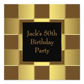 Gold Black Mans 50th Birthday Party Invitations