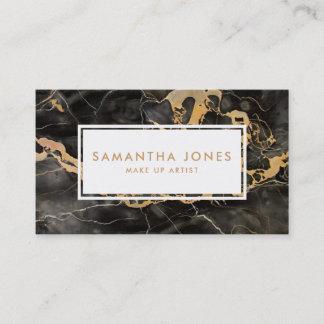 Gold Black Marble Make Up Artist Business Cards