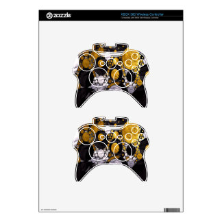Gold/Black Metal Textured Abstract Xbox 360 Controller Skins