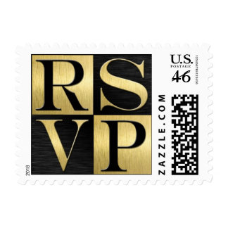Gold Black Metallic RSVP Wedding Postage