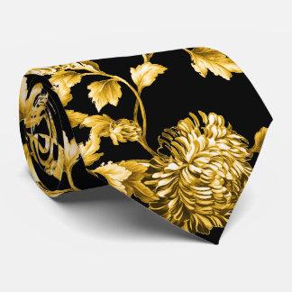 Gold & Black Modern Botanical Floral Toile Tie