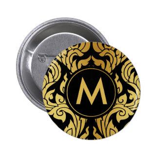 Gold Black Modern Design Style Kanok Thai Monogram Pinback Button
