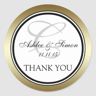 Gold Black Monogram C Wedding Thank You Classic Round Sticker