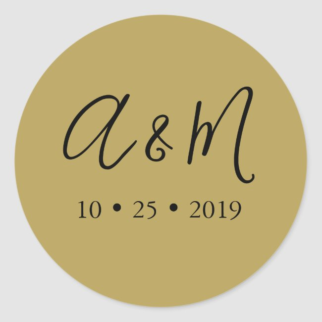 gold black monogram elegant wedding classic round sticker