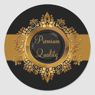 gold black monogram envelope seal classic round sticker