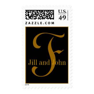 Gold & Black Monogram F Bride Groom Names Postage